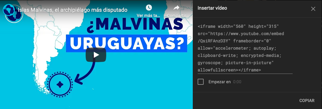 Youtube código HTML