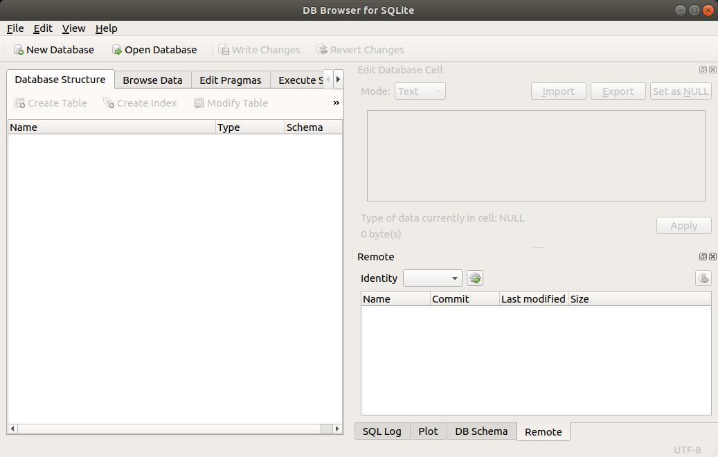 SQLite Browser abierto