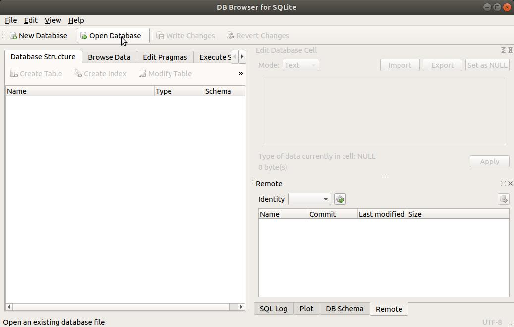 SQLite Browser Open Database