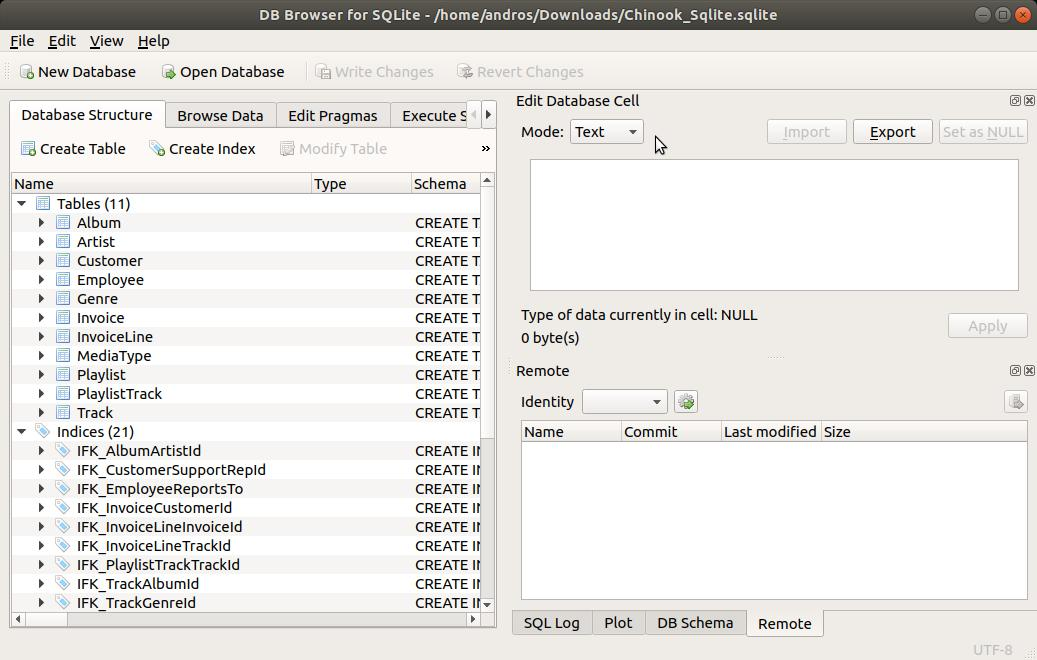 SQLite Browser estructura