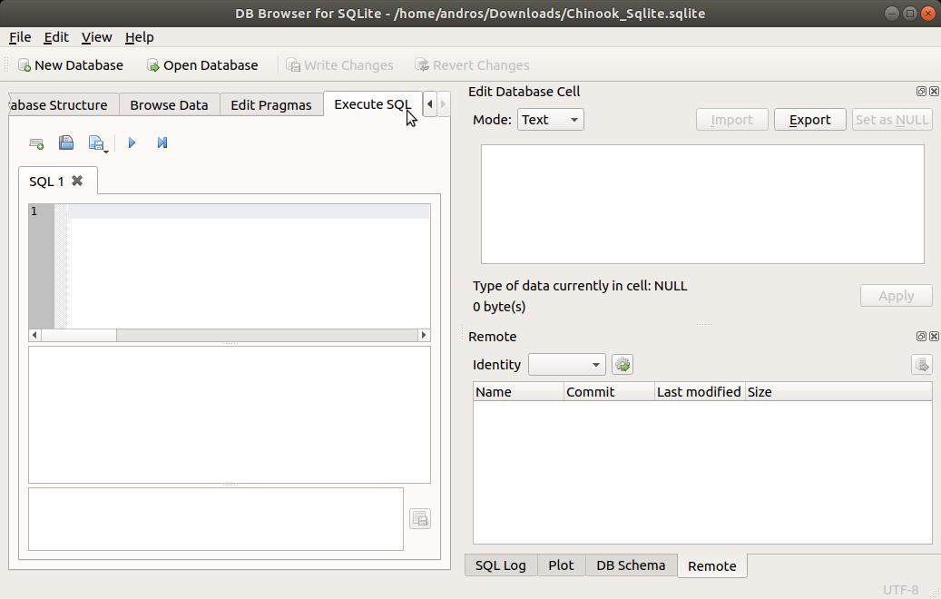 SQLite Browser zona de SQL