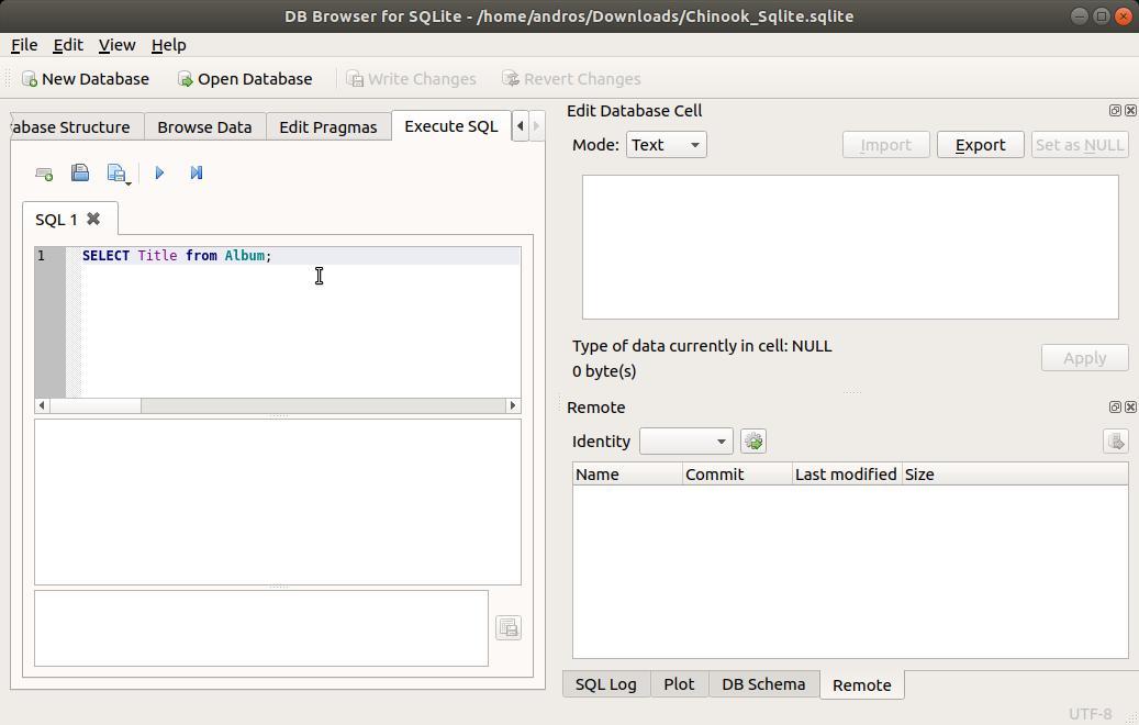 SQLite Browser escribiendo SQL