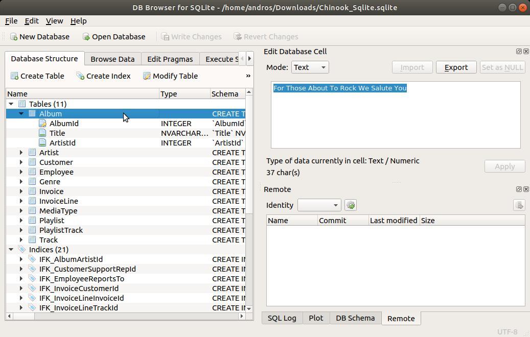 SQLite Browser explorar otras tablas